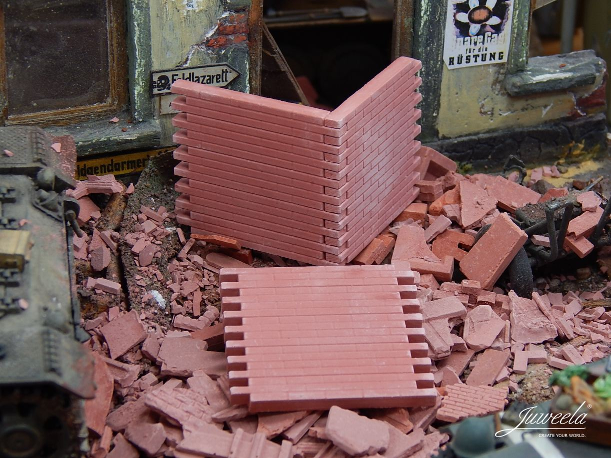 Juweela Models: 1:35 Wall Sections & Loose Bricks, Red (6 pcs)
