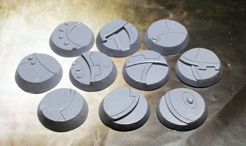 "Beveled Edge Bases: 32mm ""Ghost Stone"""