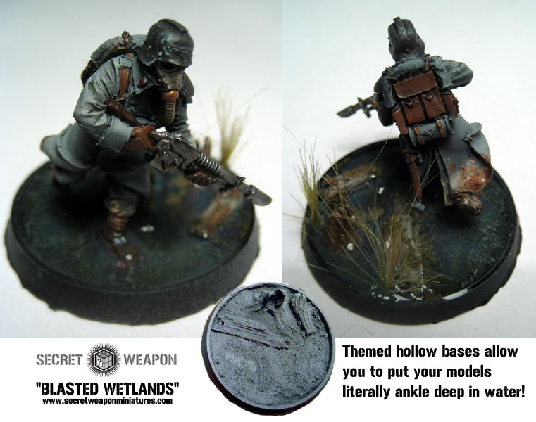 Beveled Bases: Blasted Wetlands 25mm