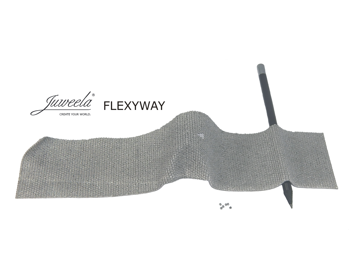 1/87 FLEXYWAY old town cobblestone street, 3x straight section - Click Image to Close