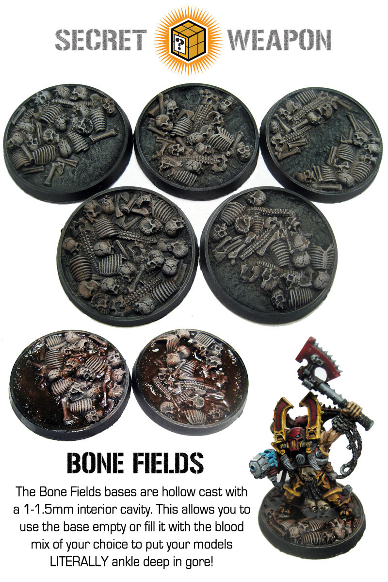 Round Lip Bases: Bone Fields 40mm
