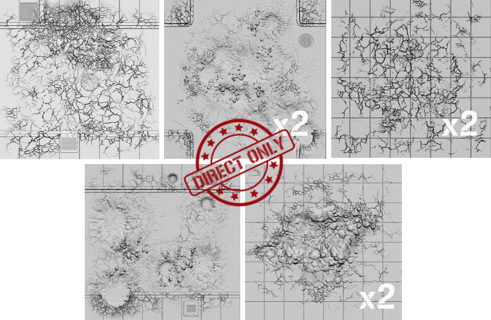 Tablescapes Tiles - Expansion: Urban Streets - Damaged (8 Tiles)